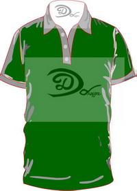 เสื้อโปโล สีเขียวใบไม้ ปกเทา
