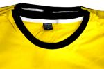 คอเสื้อยืดเหลืองกุ้นดำ