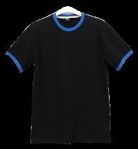 เสื้อยืดดำกุ้นน้ำเงิน