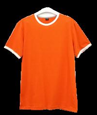 เสื้อยืดส้มกุ้นขาว