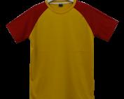 เสื้อไหล่สโลปเหลืองไพรแขนแดง